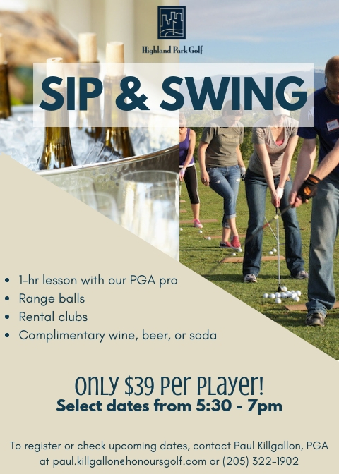 Sip and Swing Golf Clinic at Highland Park Golf Course